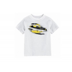 T- Shirt Batman - Batman Torn Logo Enfant Blanc Taille 10 ans
