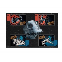 Nappe et 4 Sets de Table Star Wars - Vaisseaux avec Serviettes logos