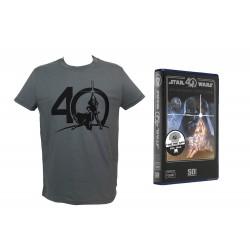 T-Shirt Star Wars - Logo 40Th Anniversary boite VHS Gris Homme Taille XL