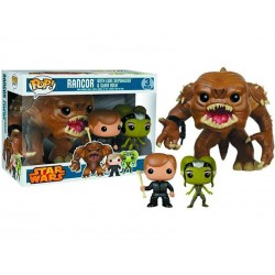 Boite Abimée - Figurine Star Wars - Rancor, Luke et Oola Pack de 3 Pop Limited Edition 10cm